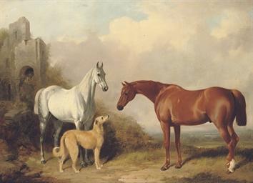 Two hunters and a deerhound, i