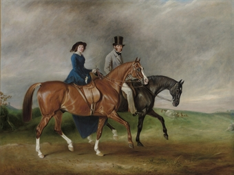 Thomas Tertius Paget and his wife, Geraldine McCausland, riding on Satan and Jessica in Bradgate Park, Leicestershire