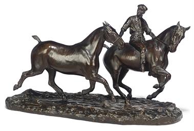 Valet d'écurie et chevaux à l'