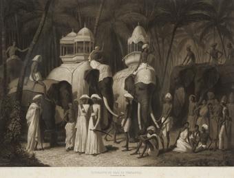 Éléphants du Raja de Travancour. Travandrum, Mai 1841; and Intérieur du couvent de Condgeveram, a 40 Milles de Madras. Réunion journalière des Brames en L'honneur des deux Divinités Conservatrice et Destructive, Juillet 1841