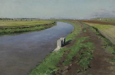 Bord d'un canal, près de Naple