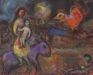 Mére et enfant sur l'ane marro