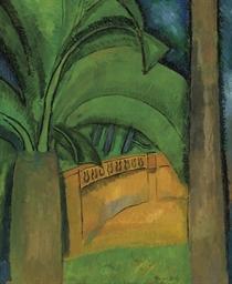Palmier et terrasse à l'Estaqu
