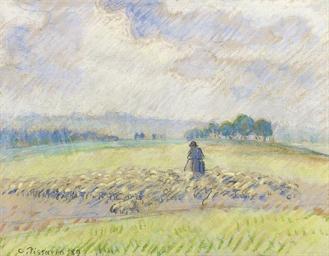 Berger et moutons, Eragny