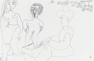 Nus et homme assis avec un cha