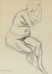 Femme nue enceinte assise