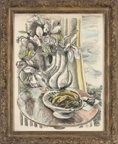 Tulips in a vase on a table, a landscape beyond; and Lilies in a vase with a plate of bananas to the side