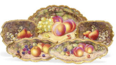 FIVE ROYAL WORCESTER FRUIT-PAI