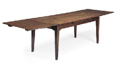A WALNUT DRAW-LEAF TABLE