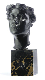 A FRENCH BRONZE BUST OF A WOMA