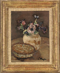 Vase of anemonies and basket