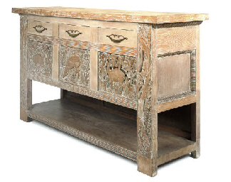 A LIMED OAK SIDEBOARD
