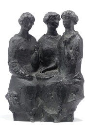 A DUTCH BRONZE GROUP 'TEA-TIME
