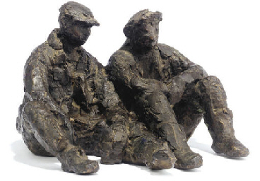 A DUTCH BRONZE GROUP 'SCHAFTEN