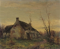 A cottage at dusk