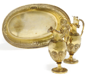 A FRENCH SILVER-GILT ALTAR SET