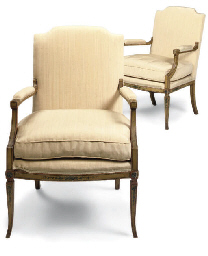 A PAIR OF PAINTED FAUTEUILS