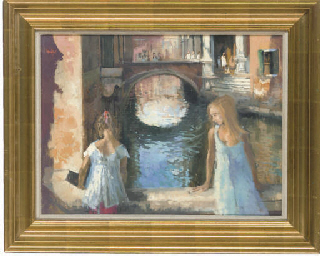 Girls on a bridge, Venice