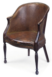 A GEORGE III MAHOGANY AND TAN
