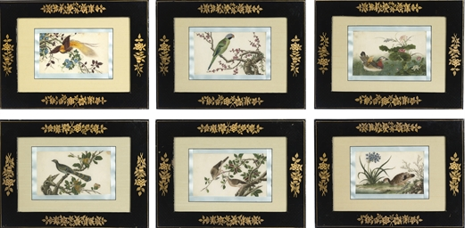 A SET OF SIX CHINESE RICE-PAPE