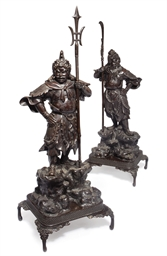 A Pair of Japanese Bronze figu