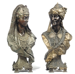 A PAIR OF FRENCH POLYCHROME-DE