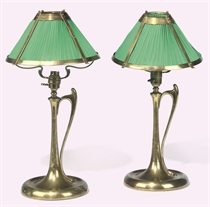 A PAIR OF BRASS TABLE LAMPS
