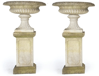 A PAIR OF LIMESTONE TAZZA