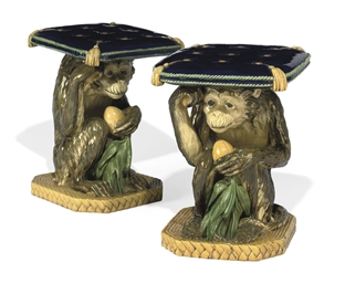 A PAIR OF MINTON MAJOLICA MONK