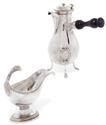A LARGE FRENCH SILVER CAFETIER