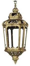 A LARGE GILT-BRONZE HALL LANTE