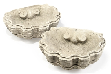 A PAIR OF LIMESTONE BASINS
