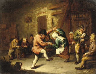 Boors dancing in an inn