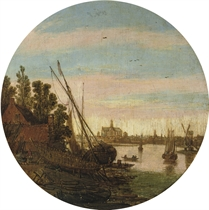 A shipyard on the banks of a river with a boat being caulked, Haarlem beyond