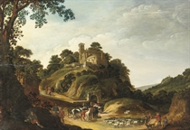 A rocky wooded landscape with Christ on the Road to Emmaus