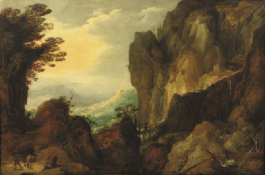 A rocky landscape with travell