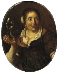 A peasant woman holding a glas