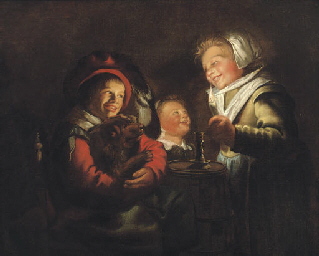 Two girls and a boy with a dog