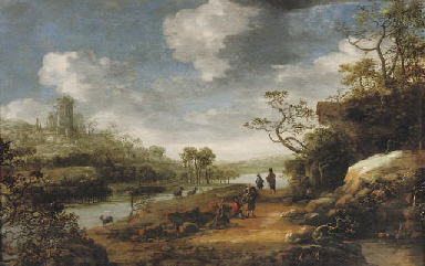 A rocky river landscape with t