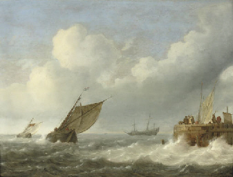 Sailing vessels in choppy wate