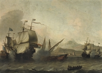 A naval engagement, said to be the Battle of Agosta, 22 April 1676