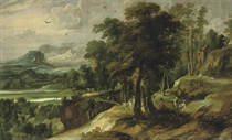 An extensive river landscape with the Angel appearing to Balaam's ass