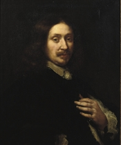 Portrait of a gentleman, half-length, in a black costume with a white chemise