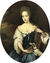 Portrait of a lady, three-quarter-length, in a blue dress with a white chemise and a crimson wrap with a dog by her side
