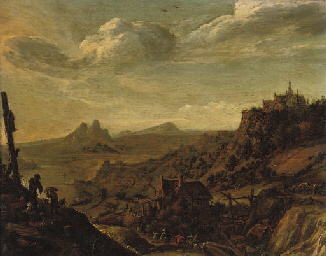 A Rhenish river landscape with