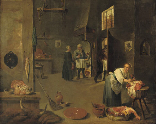 A peasant woman cutting meat i