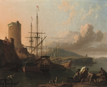 A Mediterranean coastal scene at sunset with a royal yacht being caulked, a tower by a fort nearby, sailors unloading cargo in the foreground
