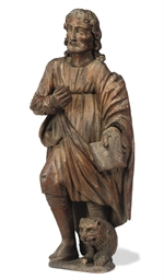 A FLEMISH OAK FIGURE OF SAINT