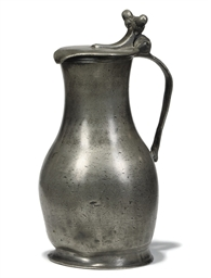 A RARE JERSEY PEWTER LIDDED ME