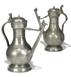 A SWISS PEWTER FLAGON OR STEGK